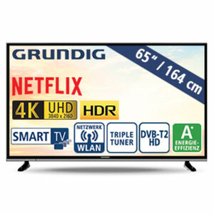 "65""-Ultra-HD-LED-TV 65 VLX 610 • HbbTV • 3 HDMI-/2 USB-Anschlüsse, CI+ • 40 Watt RMS • Stand-by: 0,45 Watt, Betrieb: 115 Watt • Maße: H 85 x B 146,3 x T 8,6 cm • Energie-Effizienz A+ (S"
