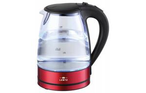 Lentz Wasserkocher Glas 74128 1,7 Liter rot