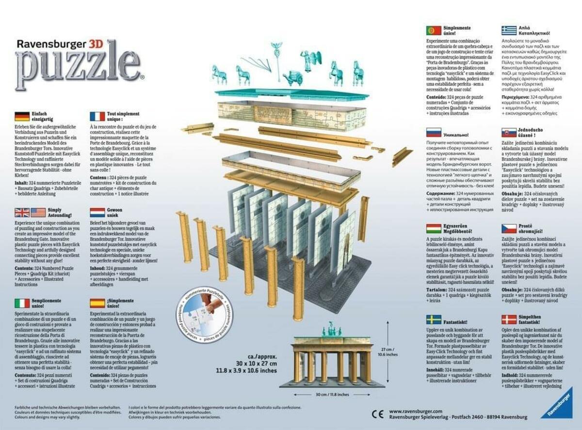 Bild 2 von 324 Teile Ravensburger 3D Puzzle Bauwerk Brandenburger Tor 12551