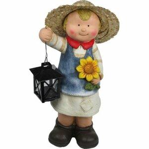 Deko-Figur Mädchen mit Kürbis und Laterne 40,5 cm