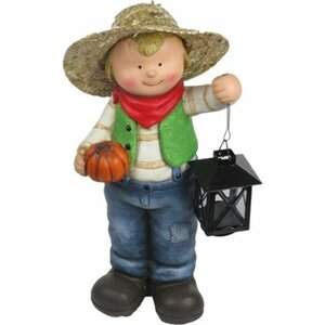 Deko-Figur Junge mit Kürbis und Laterne 40,5 cm
