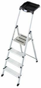 Krause Stufen-Stehleiter Secury mit MultiGrip-System und 8 l System-Eimer, 4 Stufen