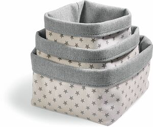Dekor Aufbewahrungskörbchen, 3er - weiß/grau