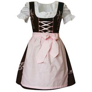 Edelnice Mini Dirndl 3-teilig braun rosa für Damen