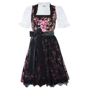 Edelnice Midi Dirndl 3-teilig Estefania Blumen schwarz für Damen