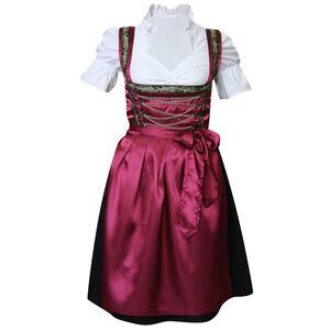 Edelnice Edles Midi Dirndl 3-teilig rot schwarz für Damen