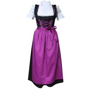 Edelnice Langes Dirndl 3-teilig violett schwarz für Damen
