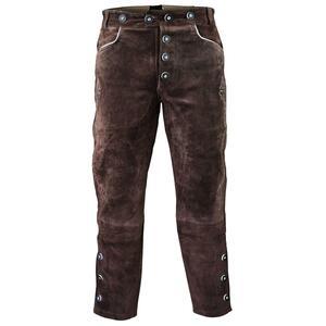 Edelnice Lange Lederhose dunkelbraun für Herren