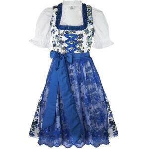 Edelnice Midi Dirndl 3-teilig Estefania Blumen blau für Damen