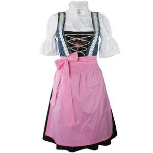 Edelnice Süßes Mini Dirndl 3-teilig blau rosa für Damen