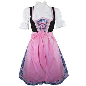 Edelnice Mini Dirndl 3-teilig blau kariert mit rosa Borte für Damen