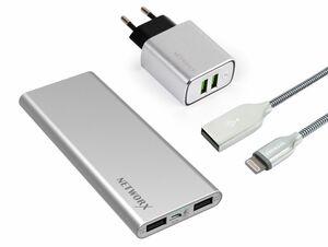 Networx Premium Starterset, USB-Netzteil, Lightning-Kabel, Powerbank, silber