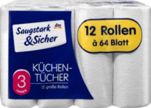 Saugstark&Sicher Küchentücher Classic 3-lagig, 12 x 64 Blatt