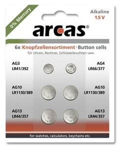 Alkaline Knopfzellensortiment 6-teilig Arcas