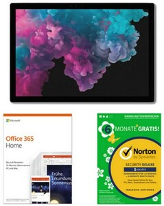 Microsoft Surface Pro 6 (128GB) Tablet platin grau inkl. Office 365 + Norton Security Deluxe