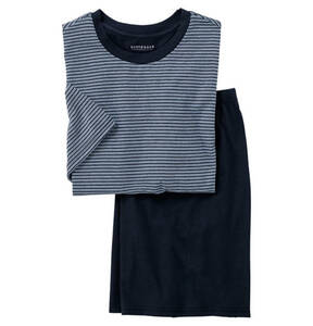 SCHIESSER             Schlafanzug, Schlafshirt & Hose, Querstreifen, reine Baumwolle