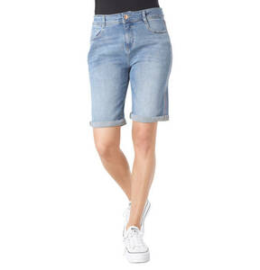 s.Oliver             Jeans-Shorts, Regular Fit, Ziernähte, Logo-Patch, Used-Look