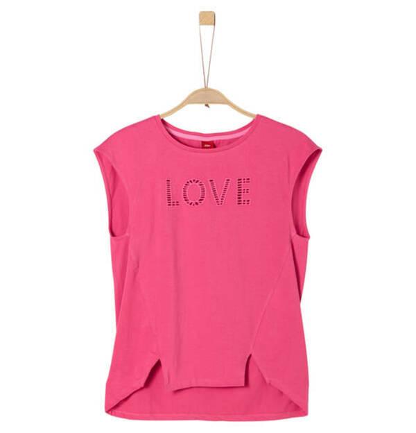 s.Oliver             T-Shirt, Lochmuster-Wording, für Mädchen
