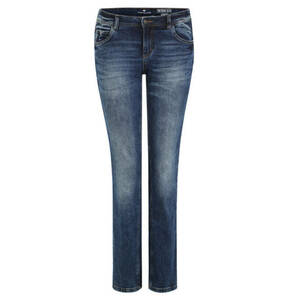 "TOM TAILOR             Jeans ""Alexa"", Straight Fit, Used-Optik, unifarben"