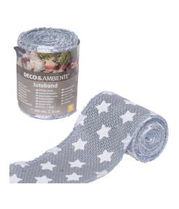"""Videx Juteband """"kleine Sterne"""", 300 cm, grau-weiß"""