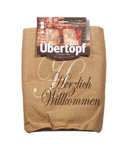 """Videx Winterschutz Jute Übertopf """"Herzlich Willkommen"""", natur, Ø 38 x 35 cm"""