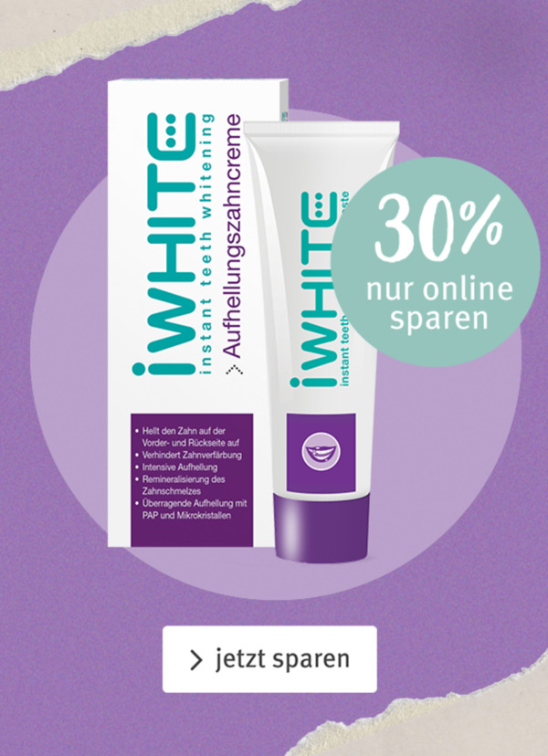 30% Rabatt auf Zahnaufhellungscreme von iWhite mit GUTSCHEINCODE: oep_iWhite