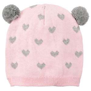 Baby Mütze mit zwei Pompons