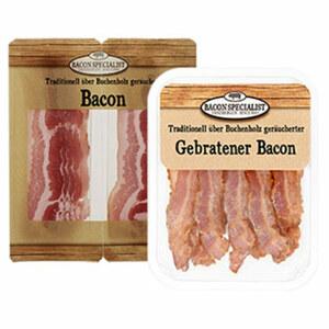 Bacon oder gebratener Bacon in Scheiben, geräuchert, jede 70/180-g-SB-Packung