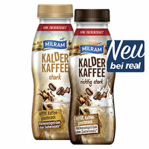 Milram Kalder Kaffee stark oder richtig stark, jede 250-ml-Flasche