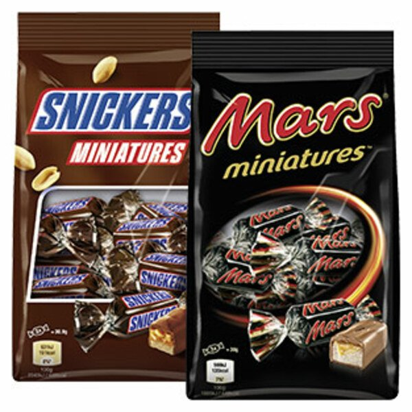 Mars, Twix, Snickers oder Bounty Miniatures jeder 150-g-Beutel