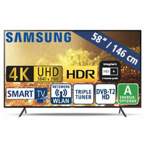 "58""-Ultra-HD-LED-TV UE58RU 7179 • HbbTV • 3 HDMI-/2 USB-Anschlüsse, CI+ • 20 Watt RMS • Stand-by: 0,5 Watt, Betrieb: 107 Watt • Maße: H 75,7 x B 130,1 x T 6 cm • Energie-Effizienz A ("