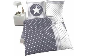 Baumwoll Bettwäsche Sterne grau