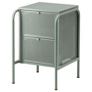 NIKKEBY                                Kommode mit 2 Schubladen, graugrün, 46x70 cm