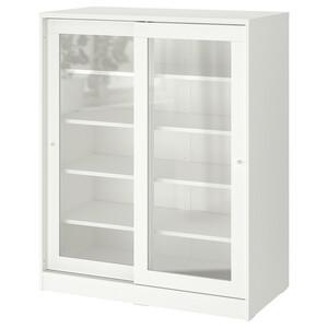 SYVDE                                Schrank mit Vitrinentüren, weiß, 100x123 cm
