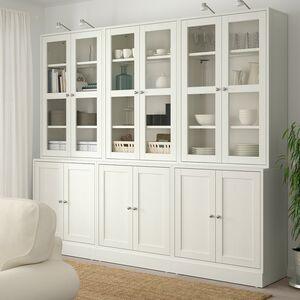 HAVSTA                                Kombination mit Glastüren, weiß, 243x47x212 cm