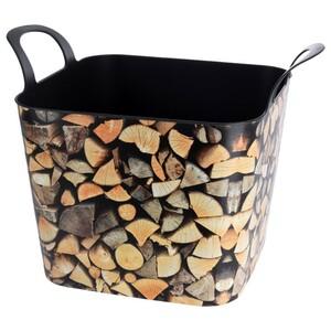 Kaminholzkorb 36 Liter aus Kunststoff mit Holzmotiv
