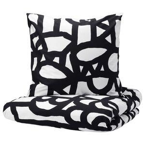 SKUGGBRÄCKA                                Bettwäscheset, 3-teilig, weiß, schwarz, 240x220/80x80 cm
