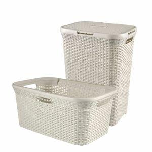 Curver STYLE Wäschebox 60L + Wäschekorb 45L creme, 2-er Set