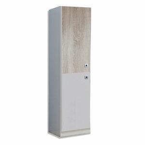Kleiderschrank - Alpinweiß - Sonoma Eiche - 46x198 cm