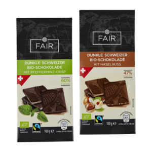 FAIR     Dunkle Schweizer Bio-Schokolade, Fairtrade