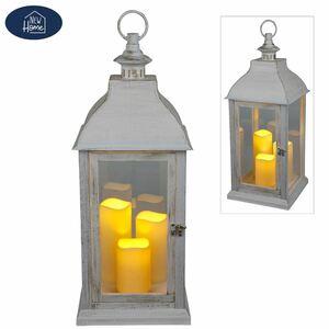 Deko-Laterne mit 3 LED-Kerzen und Timerfunktion Weiß