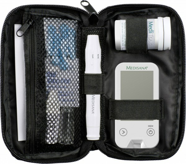 Medisana Blutzuckermessgerät MediTouch 2 Dual ,  Starterset inkl. Stechhilfe, AST-Kappe, 10 Lanzetten, 10 Teststreifen, Kontrolllösung, Etui