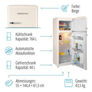 MEDION Kühl-Gefrierkombination MD 37258, Retro-Design, 208 L Nutzinhalt (164 L Kühlteil & 44 L Gefrierteil), 4-Sterne-Gefrierfach