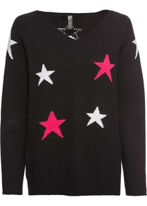 Strick-Vokuhila-Pullover mit Sternen und V-Ausschnitt