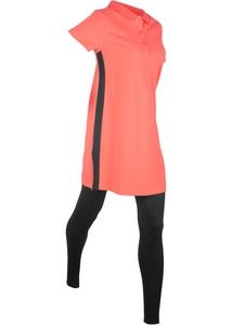 Pique-Pololongshirt mit Leggings im Set, kurzarm