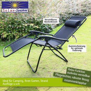 Solax-Sunshine Camping Relaxstuhl, schwarz