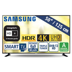 """50""""-Ultra-HD-LED-TV UE50RU7099 • HbbTV • 3 HDMI-/2 USB-Eingänge, CI+ • 20 Watt RMS • Stand-by: 0,5 Watt, Betrieb: 91 Watt • Maße: H 65 x B 112,5 x T 5,9 cm • Energie-Effizienz A (Spektr"""