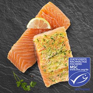 Wildlachsfilet mit Haut, aus den klaren Gewässern vor Alaska, aus MSC-zertifizierter Fischerei, getaut, je 100 g