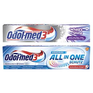Odol-med3 Zahncreme All in one Schutz oder White&Shine, Samtweiss oder Complete Care versch. Sorten, jede 75-ml-Packung
