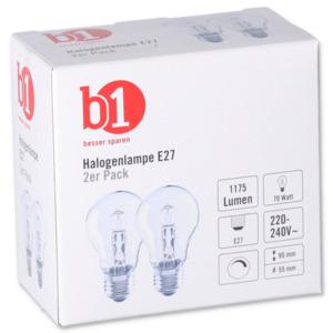 B1 Halogenlampe E27 70 W 2er-pack